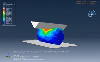 شبیهسازی مچاله شدن قوطی نوشابه بین پانچ و زمین در ABAQUS